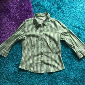 Green vertical stripes button down shirt